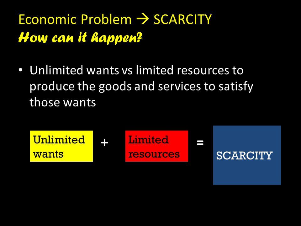 Economic Problem  SCARCITY How can it happen