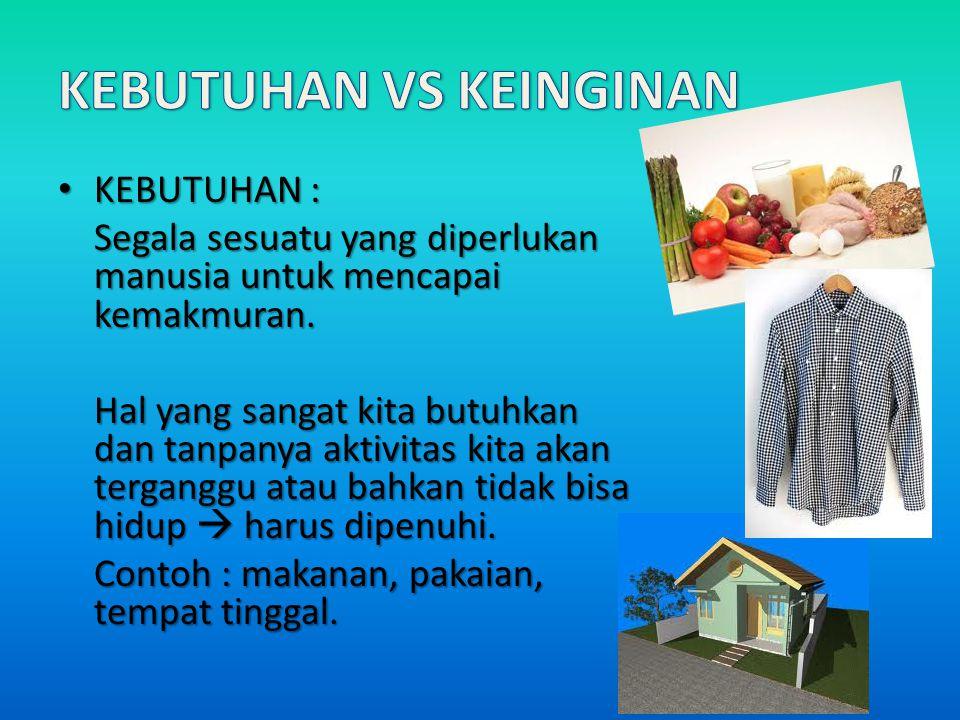 KEBUTUHAN VS KEINGINAN