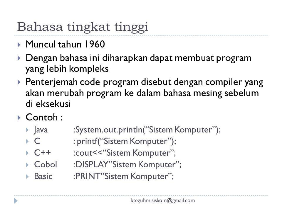 Bahasa tingkat tinggi Muncul tahun 1960