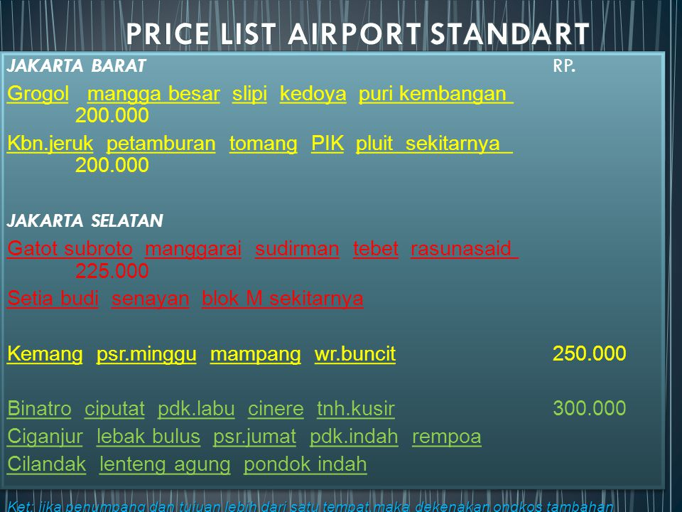 PRICE LIST AIRPORT STANDART