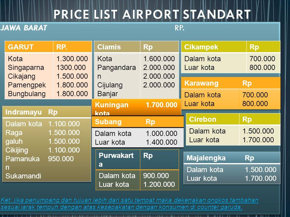 PRICE LIST AIRPORT STANDART