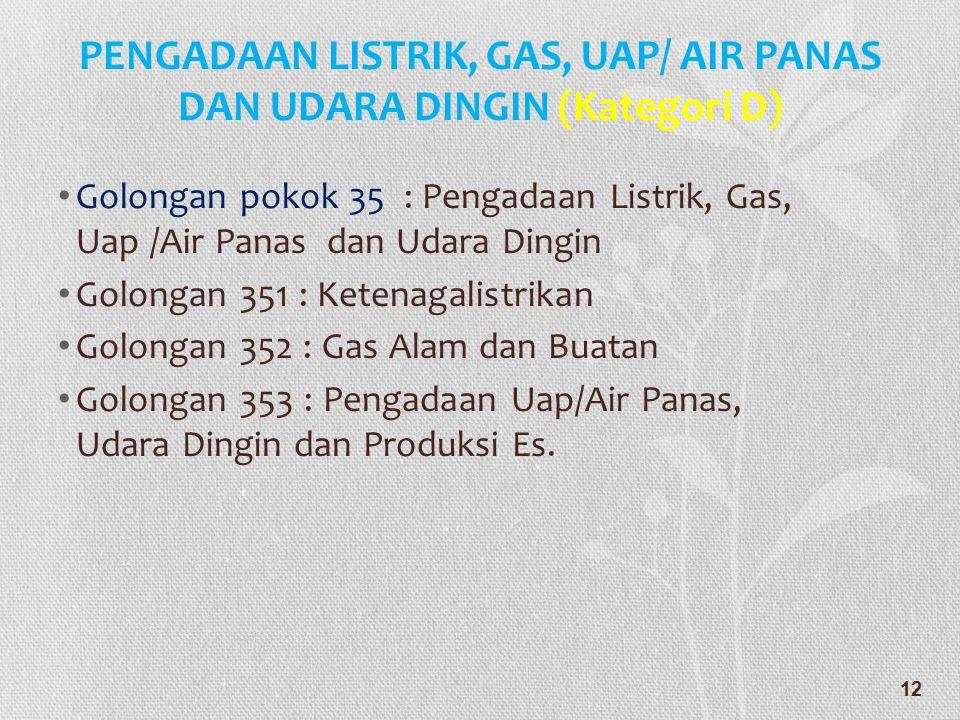 PENGADAAN LISTRIK, GAS, UAP/ AIR PANAS DAN UDARA DINGIN (Kategori D)