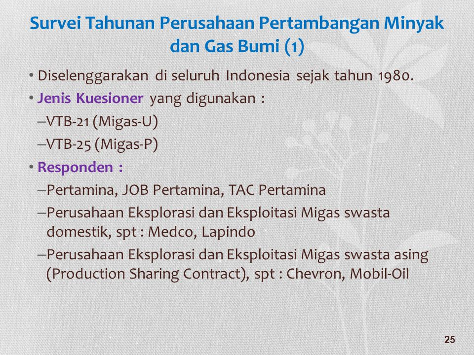 Survei Tahunan Perusahaan Pertambangan Minyak dan Gas Bumi (1)