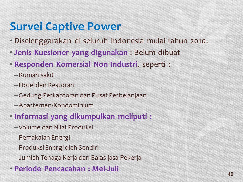 Survei Captive Power Diselenggarakan di seluruh Indonesia mulai tahun 2010. Jenis Kuesioner yang digunakan : Belum dibuat.
