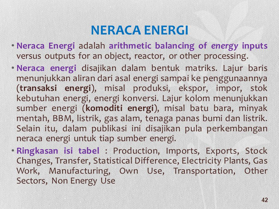 NERACA ENERGI Neraca Energi adalah arithmetic balancing of energy inputs versus outputs for an object, reactor, or other processing.