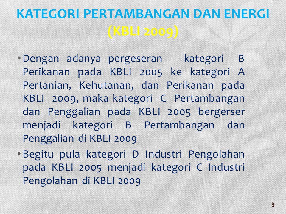 KATEGORI PERTAMBANGAN DAN ENERGI (KBLI 2009)