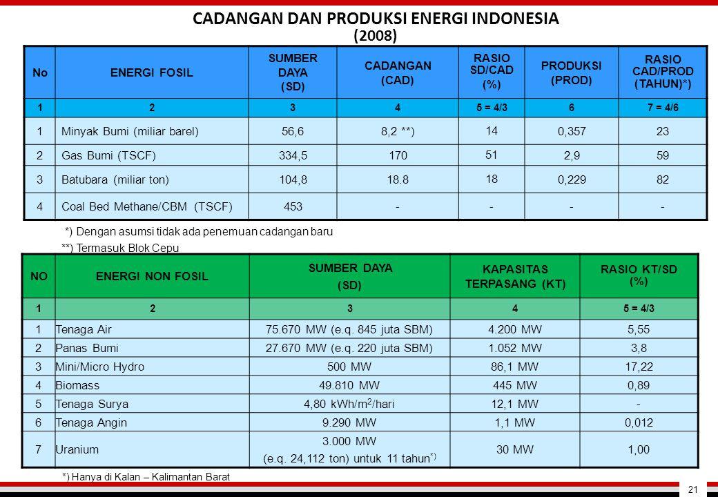 CADANGAN DAN PRODUKSI ENERGI INDONESIA (2008)