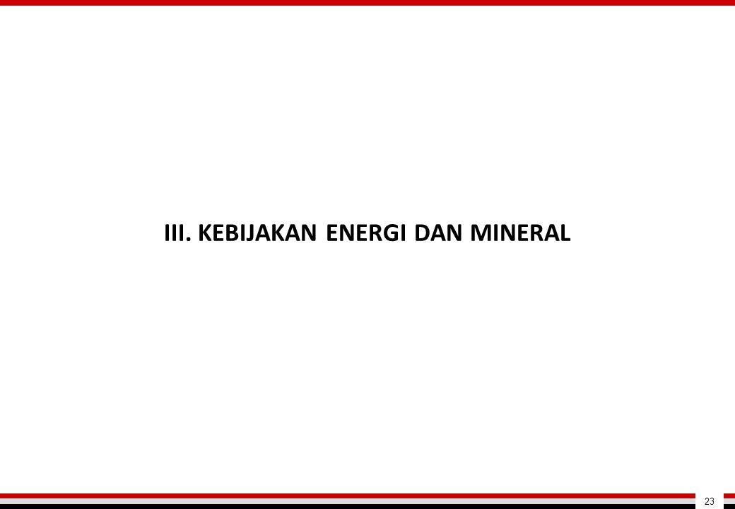 III. KEBIJAKAN ENERGI DAN MINERAL