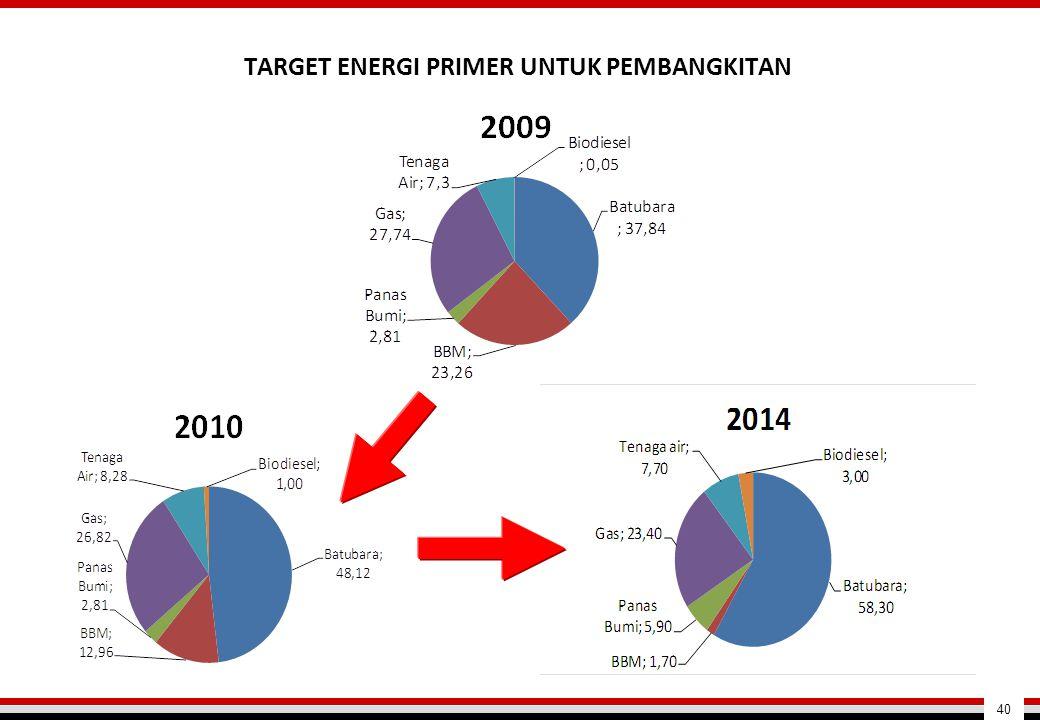 TARGET ENERGI PRIMER UNTUK PEMBANGKITAN
