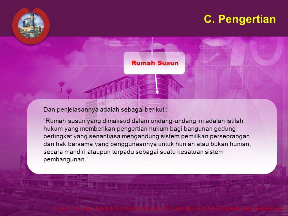 C. Pengertian Rumah Susun Dan penjelasannya adalah sebagai berikut :