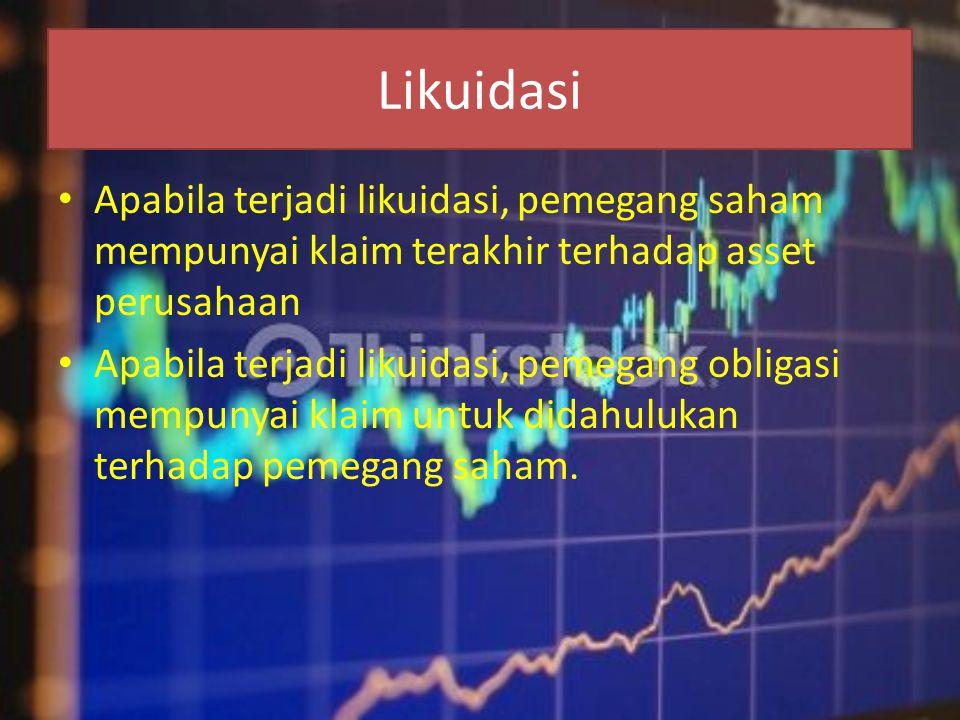 Likuidasi Apabila terjadi likuidasi, pemegang saham mempunyai klaim terakhir terhadap asset perusahaan.