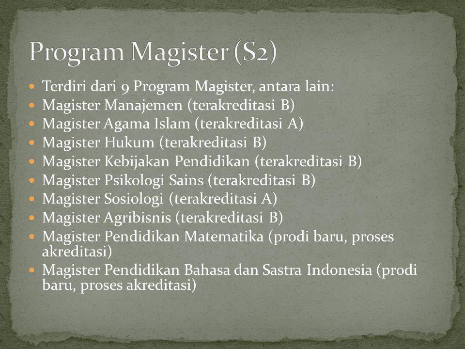 Program Magister (S2) Terdiri dari 9 Program Magister, antara lain: