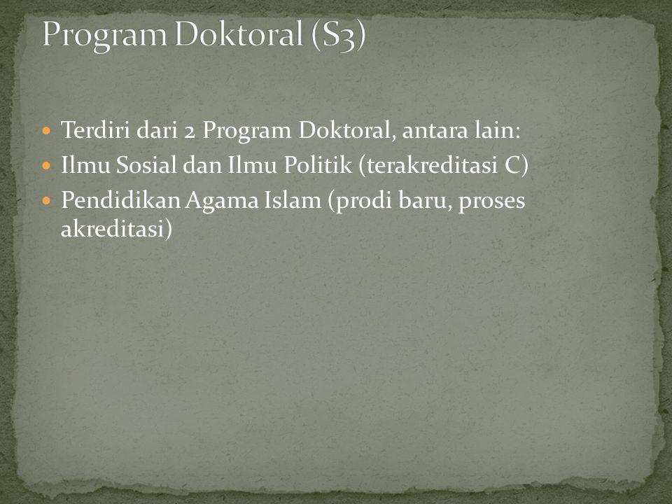 Program Doktoral (S3) Terdiri dari 2 Program Doktoral, antara lain: