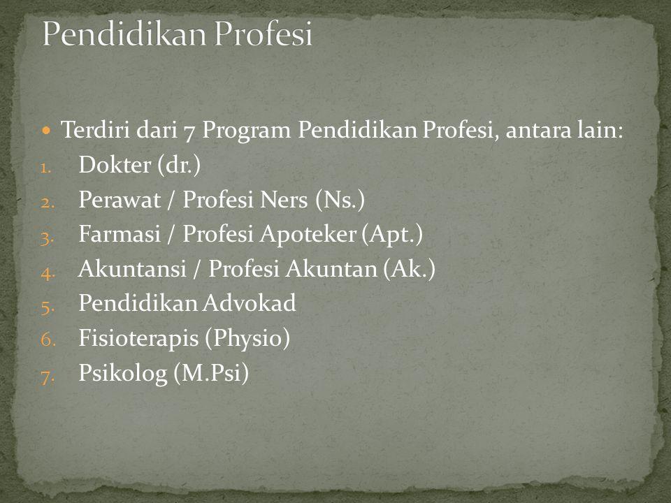 Pendidikan Profesi Terdiri dari 7 Program Pendidikan Profesi, antara lain: Dokter (dr.) Perawat / Profesi Ners (Ns.)