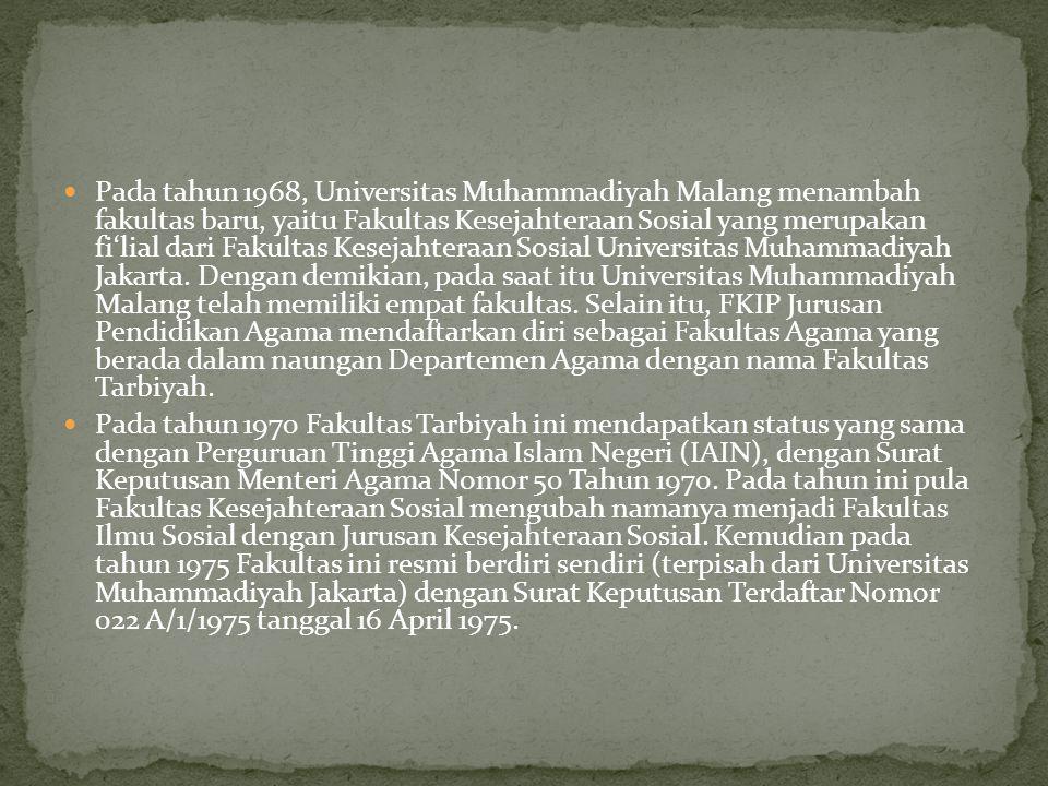 Pada tahun 1968, Universitas Muhammadiyah Malang menambah fakultas baru, yaitu Fakultas Kesejahteraan Sosial yang merupakan fi'lial dari Fakultas Kesejahteraan Sosial Universitas Muhammadiyah Jakarta. Dengan demikian, pada saat itu Universitas Muhammadiyah Malang telah memiliki empat fakultas. Selain itu, FKIP Jurusan Pendidikan Agama mendaftarkan diri sebagai Fakultas Agama yang berada dalam naungan Departemen Agama dengan nama Fakultas Tarbiyah.