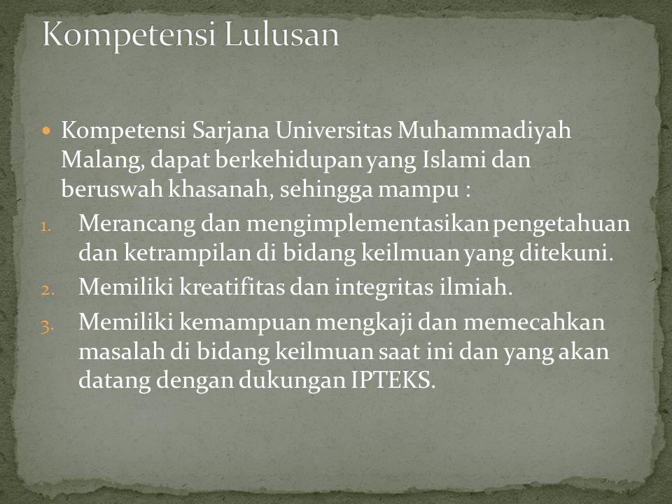 Kompetensi Lulusan Kompetensi Sarjana Universitas Muhammadiyah Malang, dapat berkehidupan yang Islami dan beruswah khasanah, sehingga mampu :