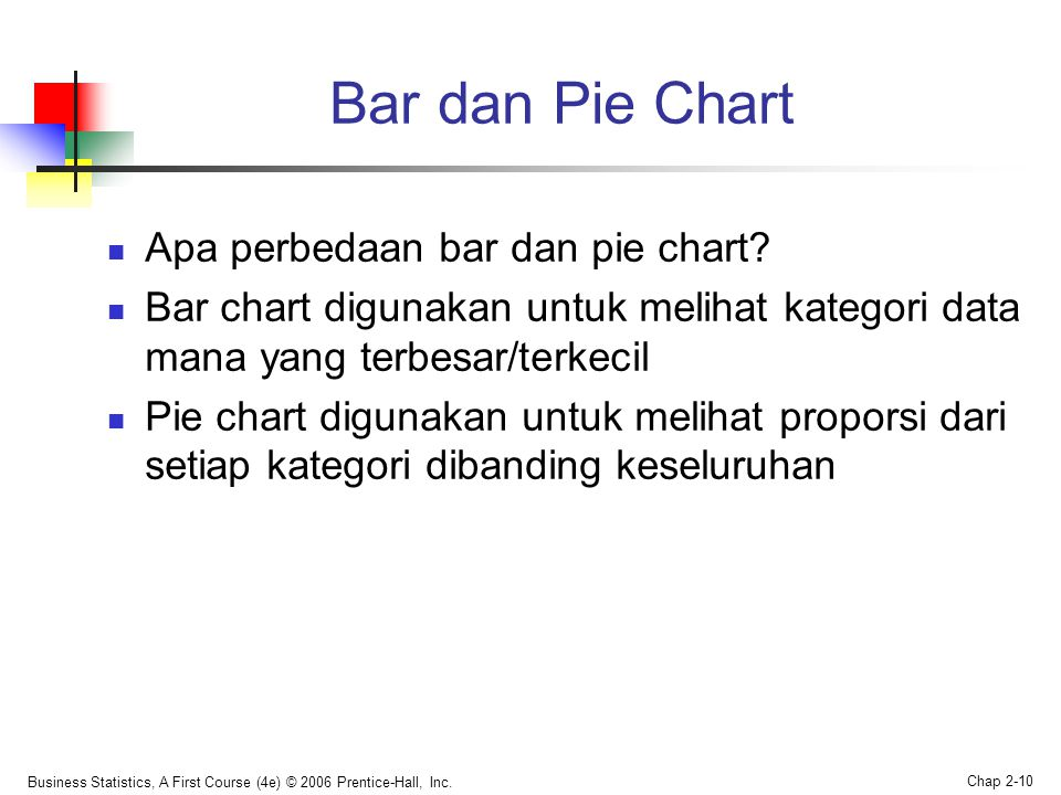 Bar dan Pie Chart Apa perbedaan bar dan pie chart