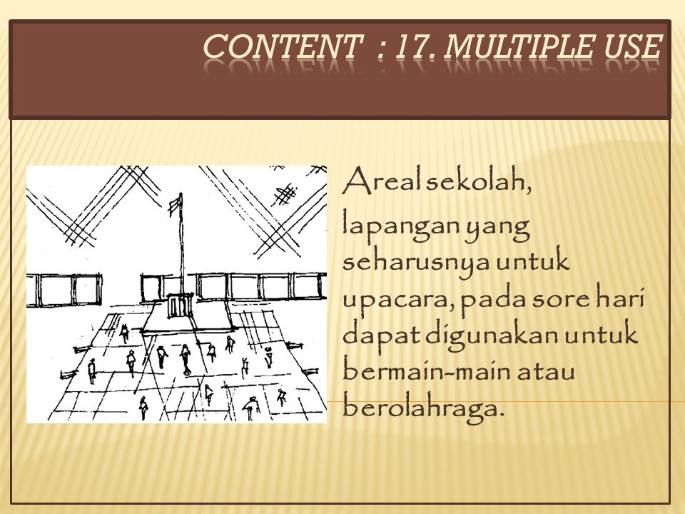 CONTENT : 17. MULTIPLE USE Areal sekolah,