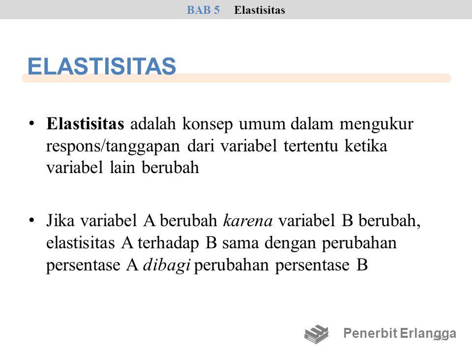 BAB 5 Elastisitas ELASTISITAS. Elastisitas adalah konsep umum dalam mengukur respons/tanggapan dari variabel tertentu ketika variabel lain berubah.