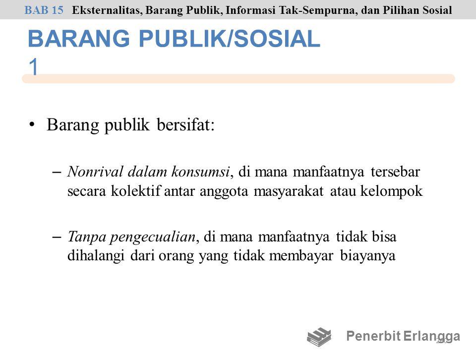 BARANG PUBLIK/SOSIAL 1 Barang publik bersifat: