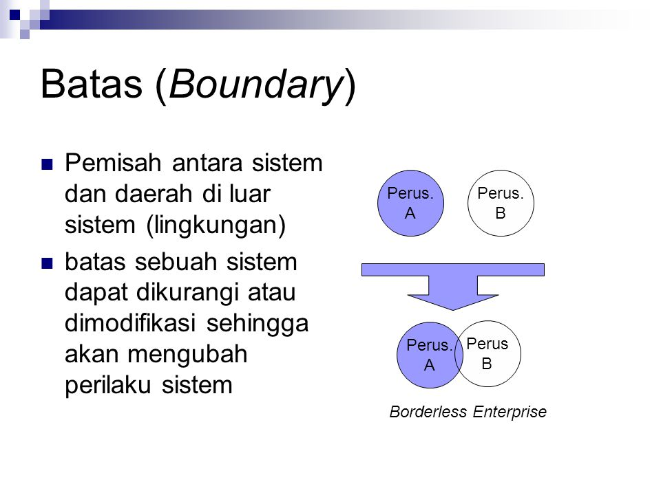Batas (Boundary) Pemisah antara sistem dan daerah di luar sistem (lingkungan)