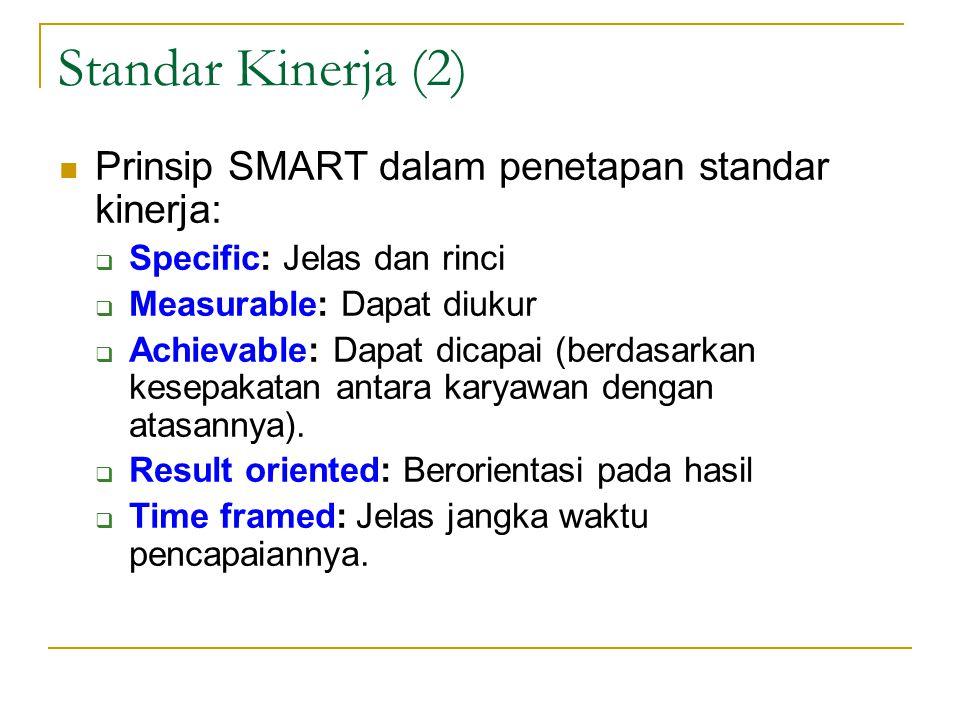 Standar Kinerja (2) Prinsip SMART dalam penetapan standar kinerja: