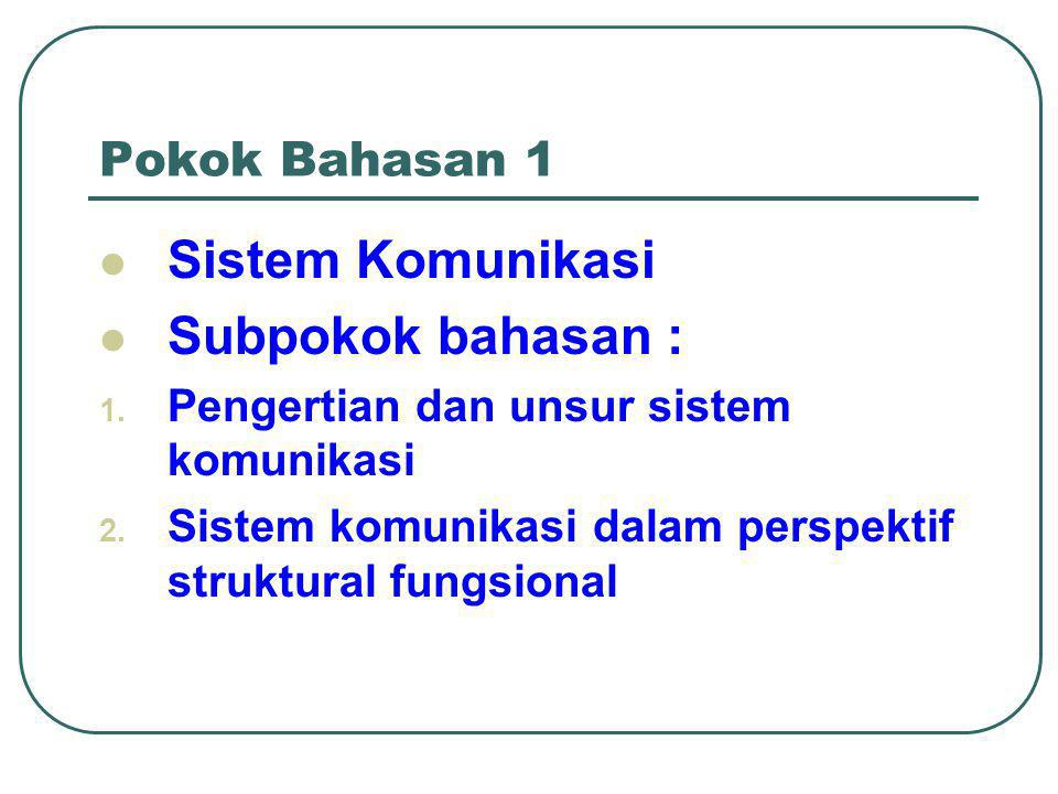 Sistem Komunikasi Subpokok bahasan : Pokok Bahasan 1