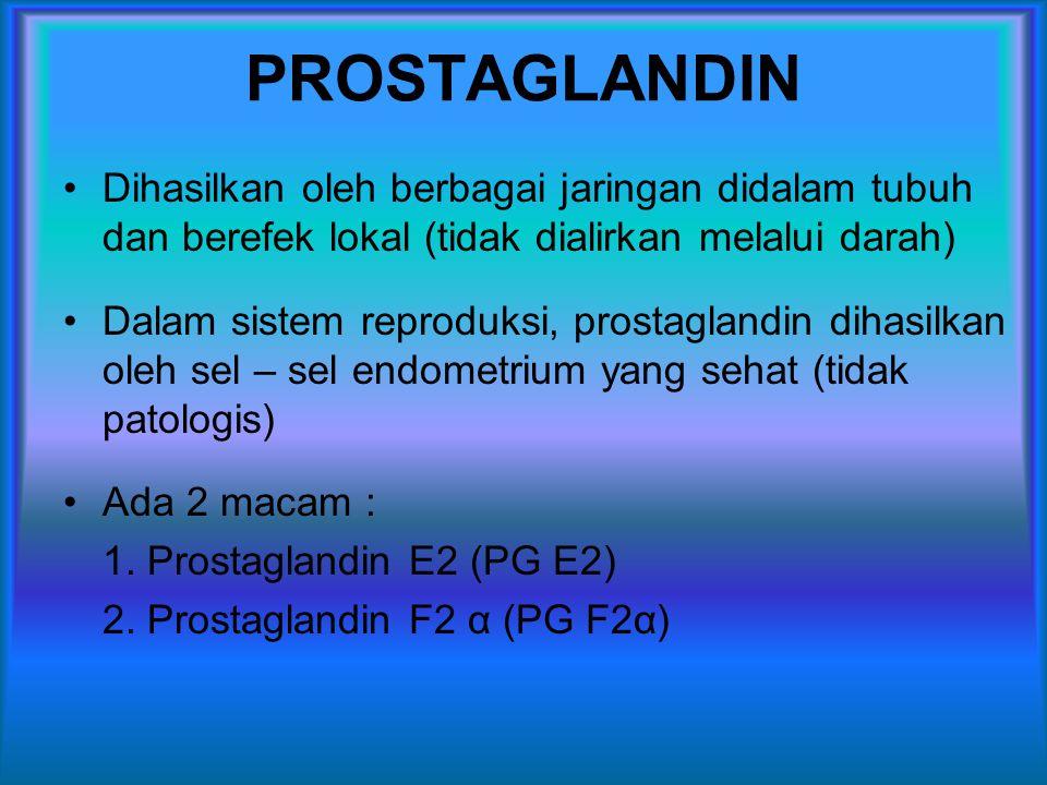 PROSTAGLANDIN Dihasilkan oleh berbagai jaringan didalam tubuh dan berefek lokal (tidak dialirkan melalui darah)