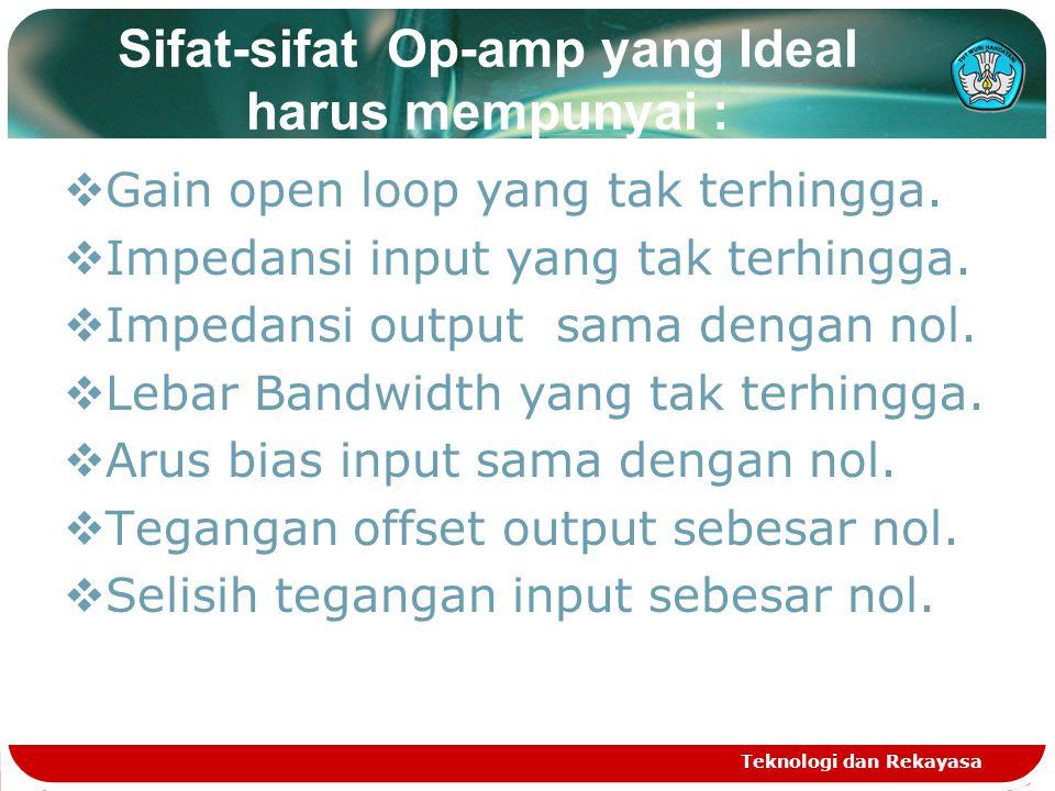 Sifat-sifat Op-amp yang Ideal harus mempunyai :