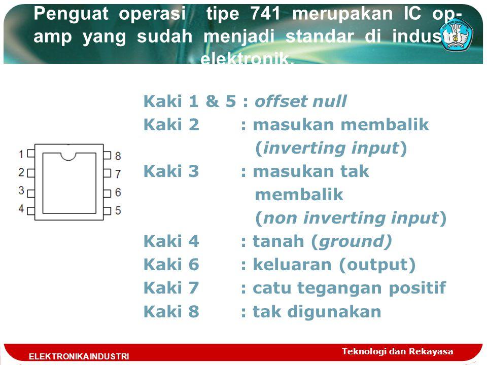 Penguat operasi tipe 741 merupakan IC op-amp yang sudah menjadi standar di industri elektronik.