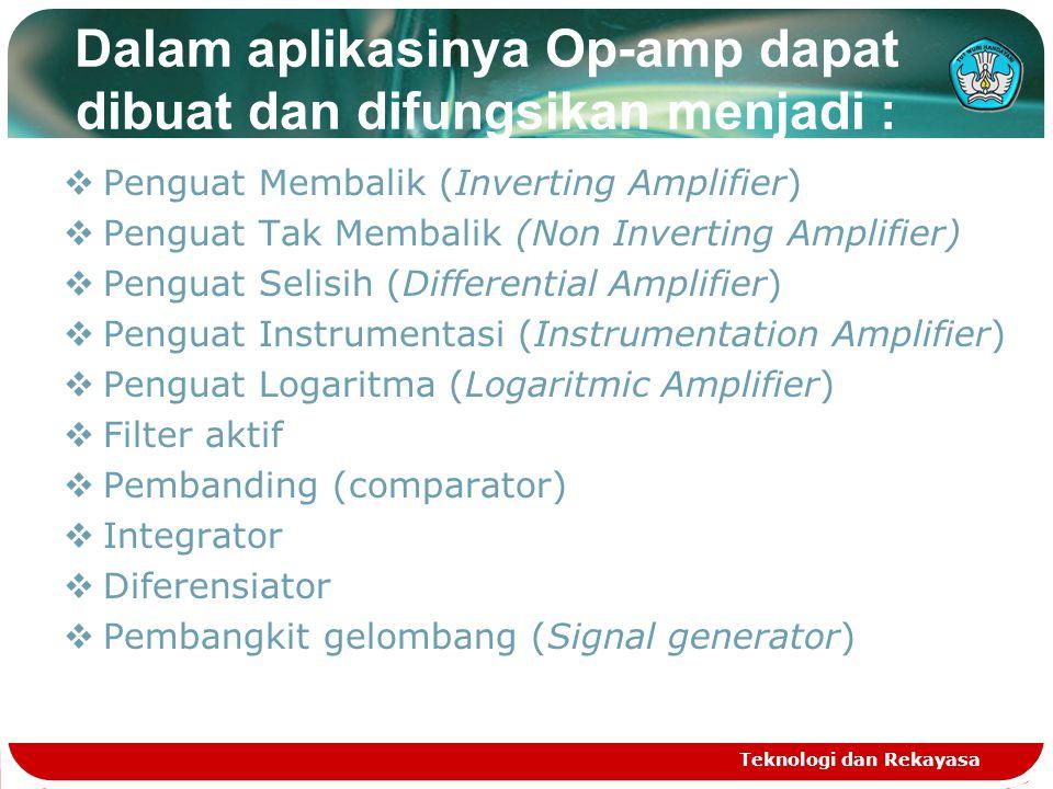 Dalam aplikasinya Op-amp dapat dibuat dan difungsikan menjadi :