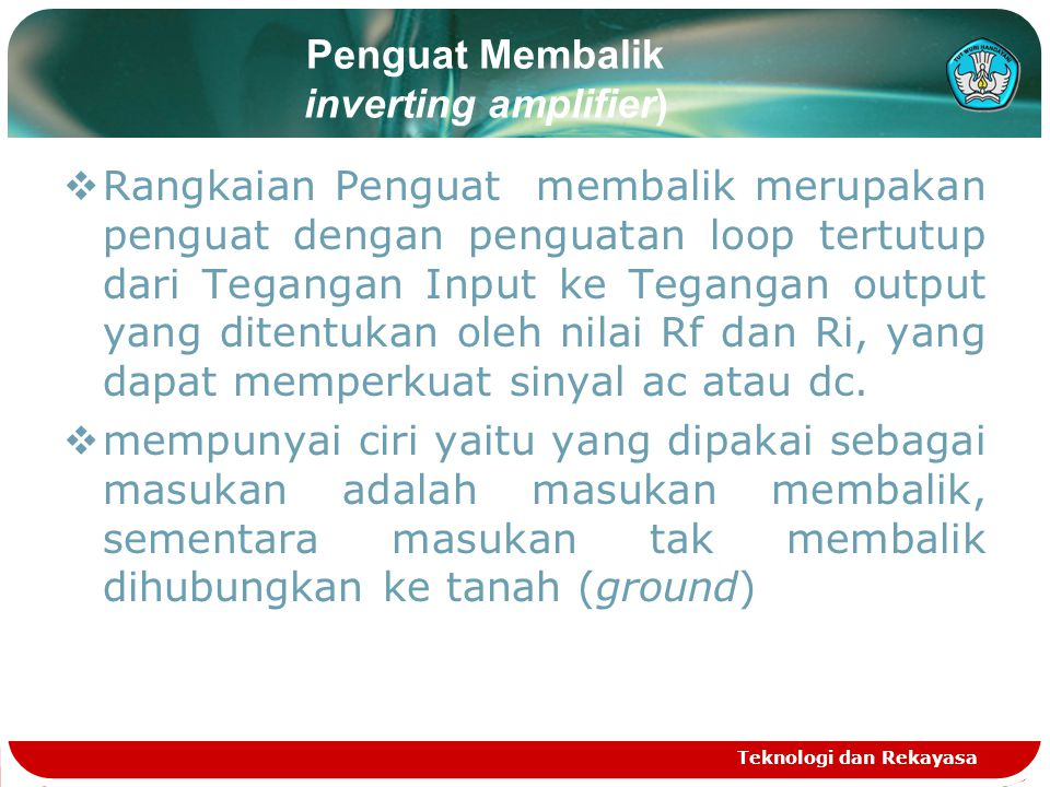 Penguat Membalik inverting amplifier)