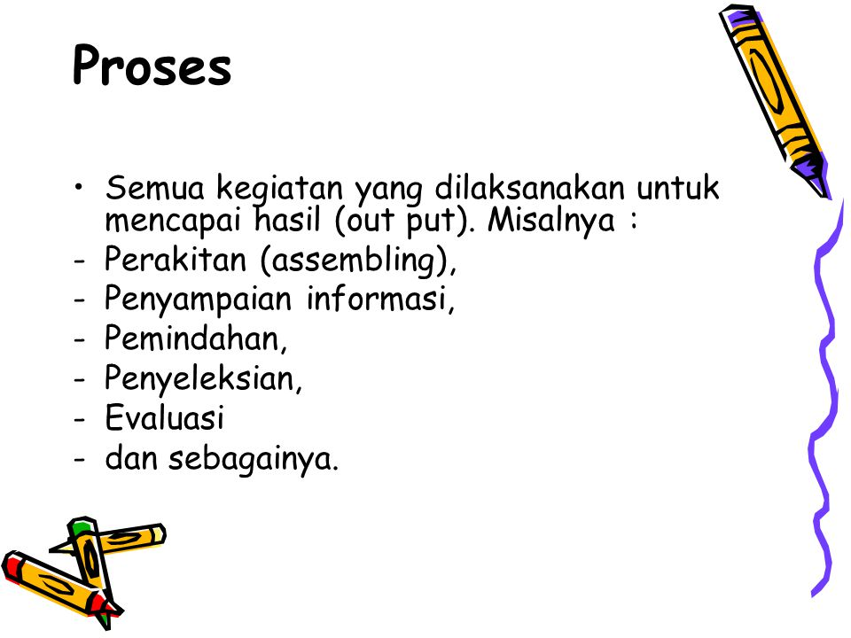Proses Semua kegiatan yang dilaksanakan untuk mencapai hasil (out put). Misalnya : Perakitan (assembling),