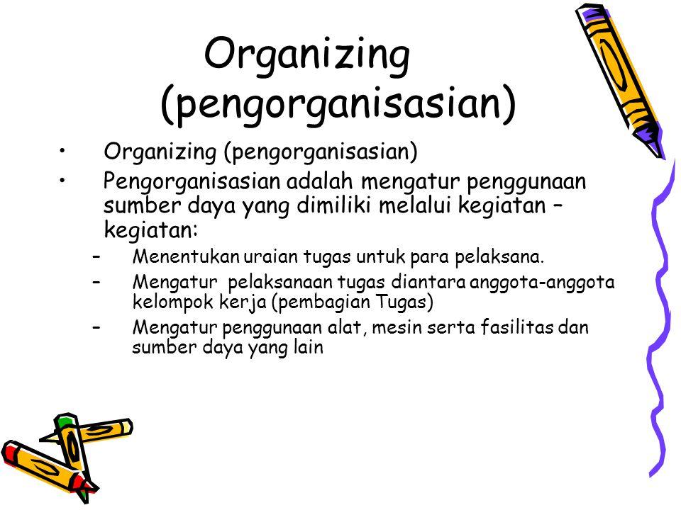 Organizing (pengorganisasian)