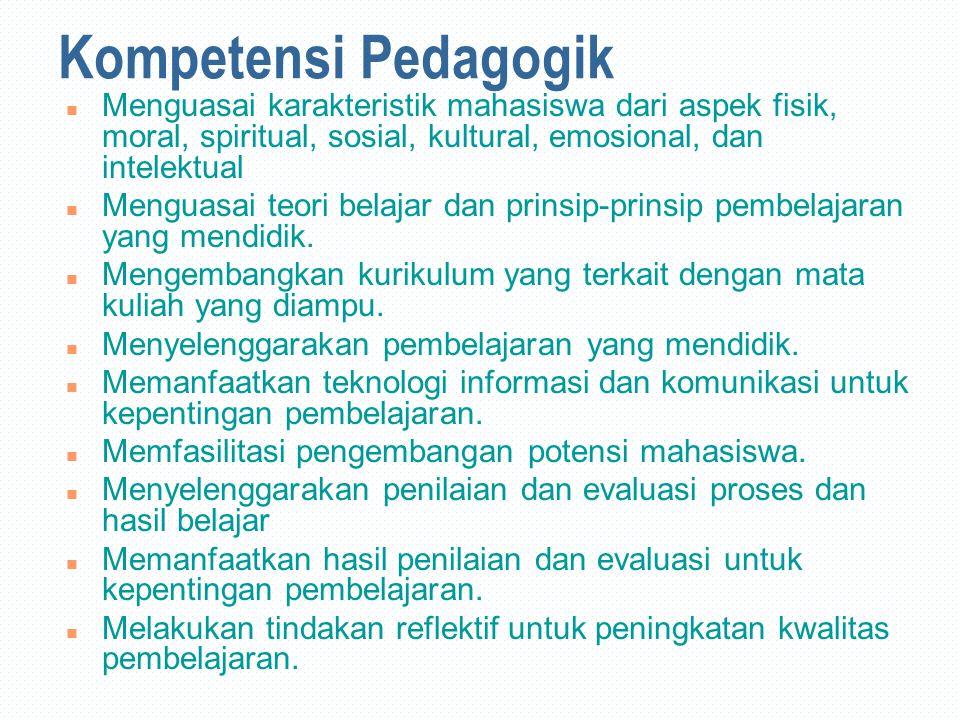 Kompetensi Pedagogik Menguasai karakteristik mahasiswa dari aspek fisik, moral, spiritual, sosial, kultural, emosional, dan intelektual.