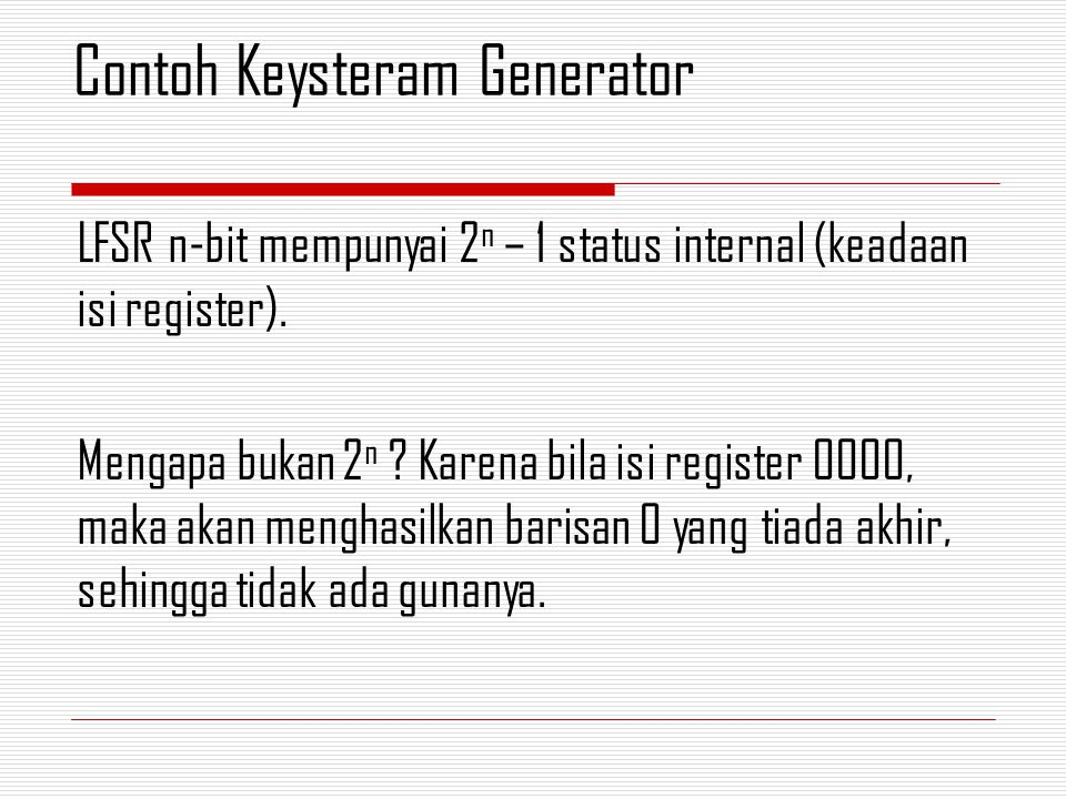 Contoh Keysteram Generator