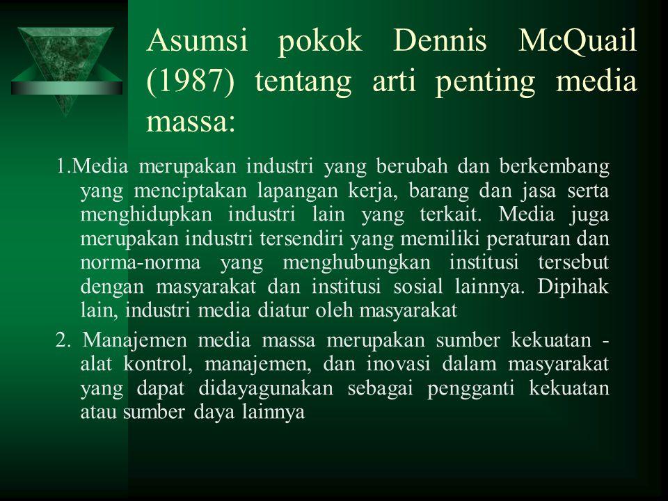 Asumsi pokok Dennis McQuail (1987) tentang arti penting media massa:
