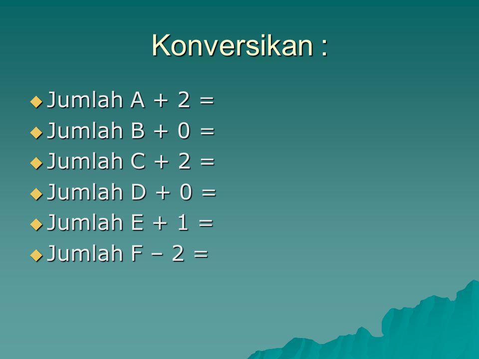 Konversikan : Jumlah A + 2 = Jumlah B + 0 = Jumlah C + 2 =