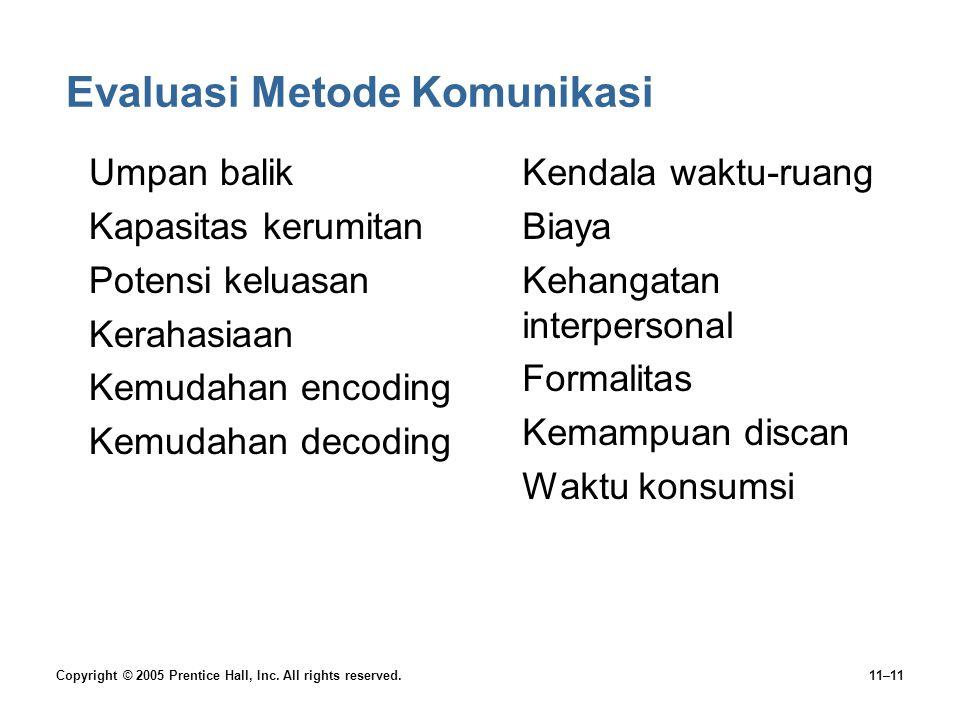 Evaluasi Metode Komunikasi