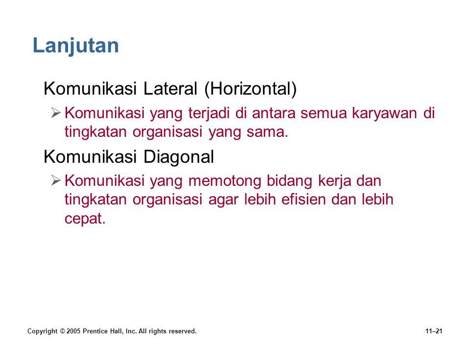Lanjutan Komunikasi Lateral (Horizontal) Komunikasi Diagonal