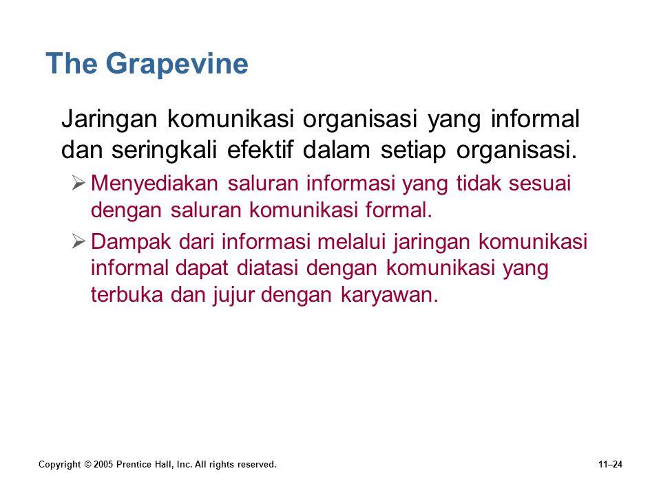 The Grapevine Jaringan komunikasi organisasi yang informal dan seringkali efektif dalam setiap organisasi.