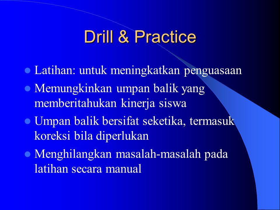 Drill & Practice Latihan: untuk meningkatkan penguasaan