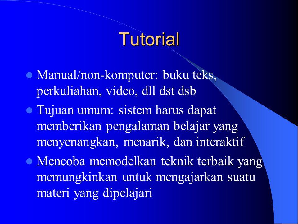 Tutorial Manual/non-komputer: buku teks, perkuliahan, video, dll dst dsb.