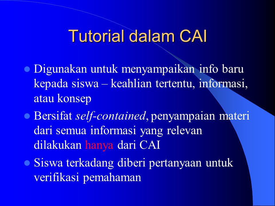 Tutorial dalam CAI Digunakan untuk menyampaikan info baru kepada siswa – keahlian tertentu, informasi, atau konsep.
