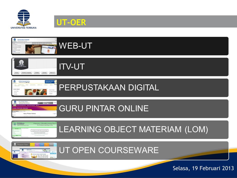 UT-OER WEB-UT. ITV-UT. PERPUSTAKAAN DIGITAL. GURU PINTAR ONLINE. LEARNING OBJECT MATERIAM (LOM)