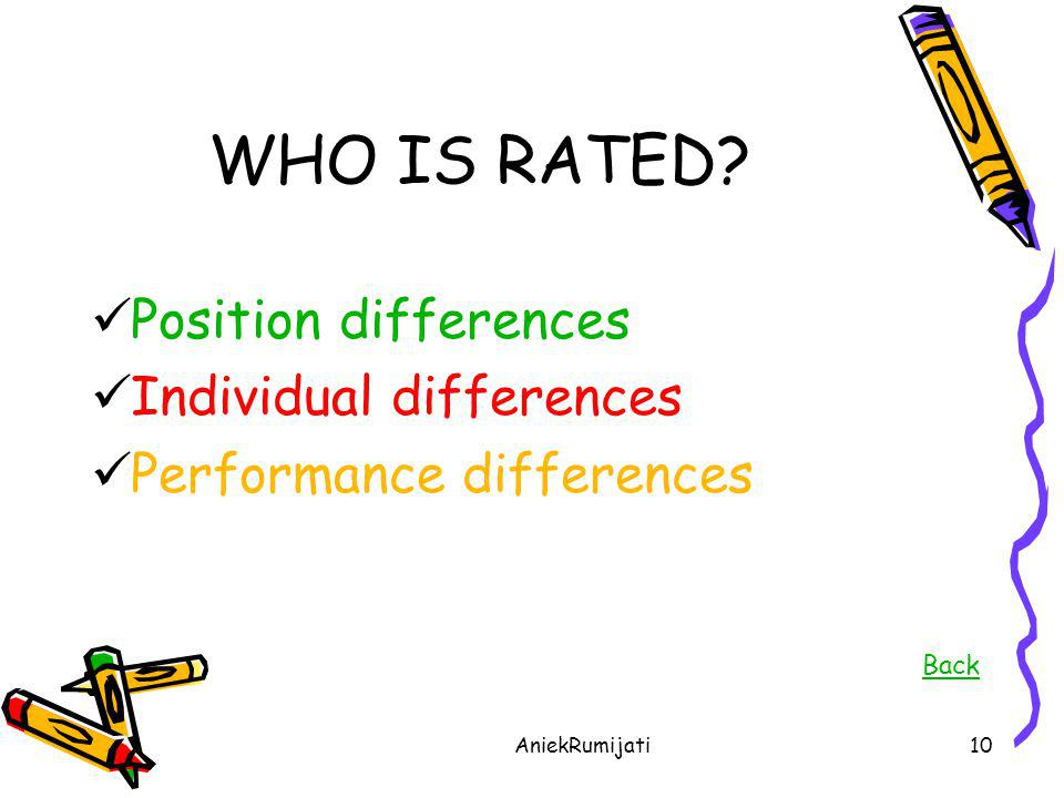 WHO IS RATED Position differences Individual differences