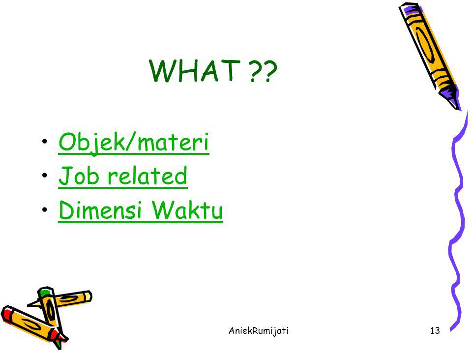 WHAT Objek/materi Job related Dimensi Waktu AniekRumijati