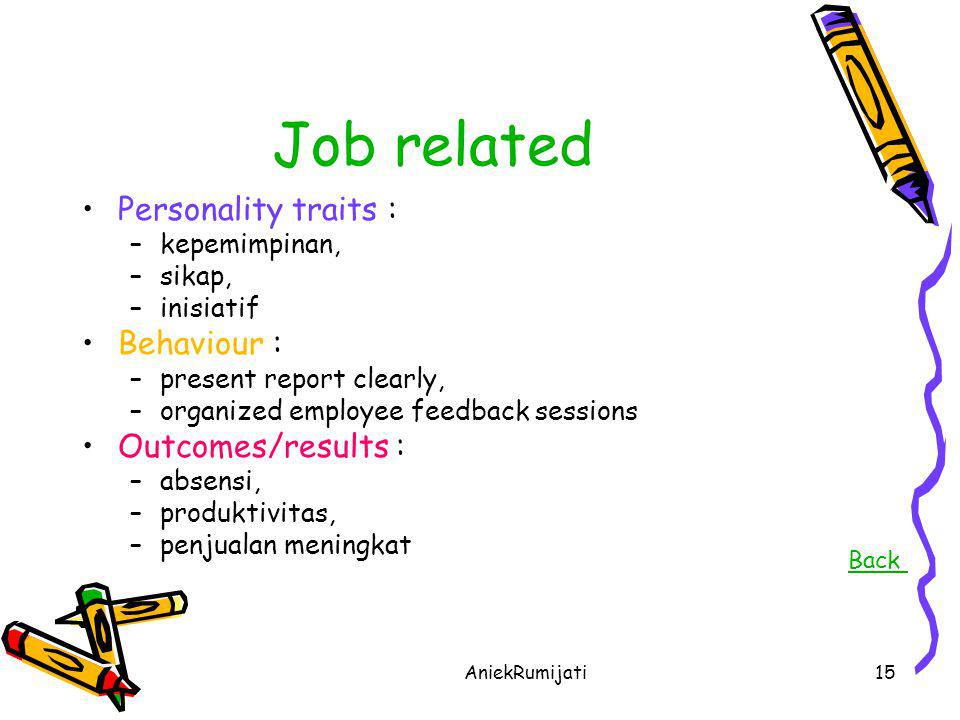 Job related Personality traits : Behaviour : Outcomes/results :