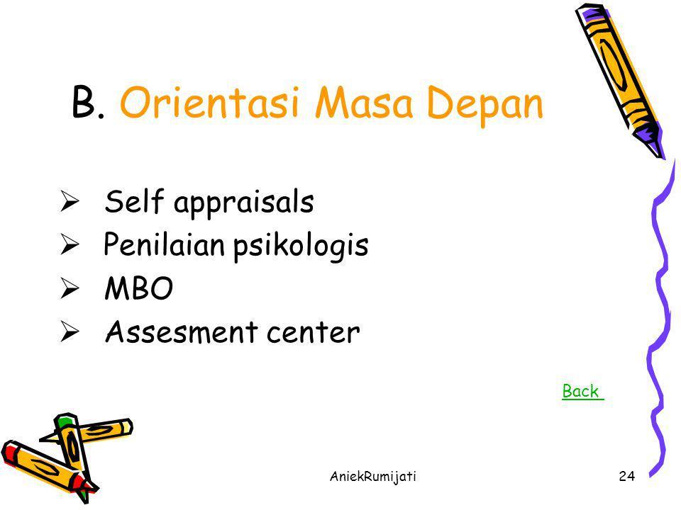 B. Orientasi Masa Depan Self appraisals Penilaian psikologis MBO