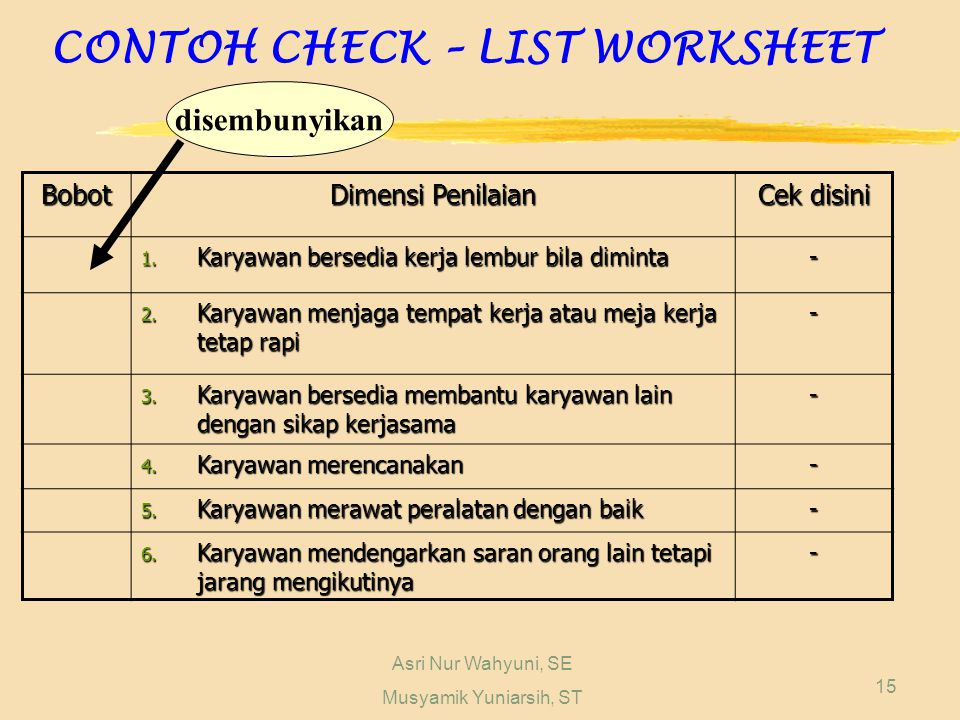 CONTOH CHECK – LIST WORKSHEET